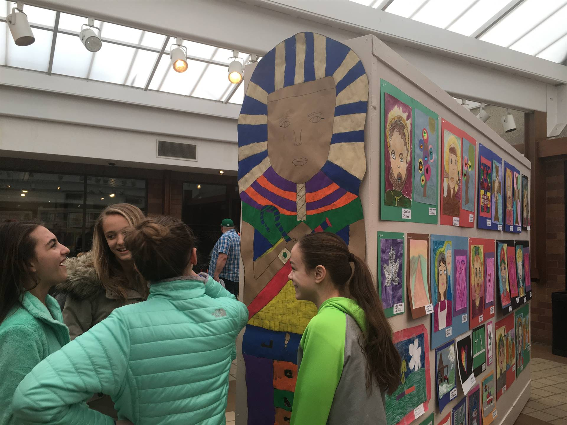 Students viewing art