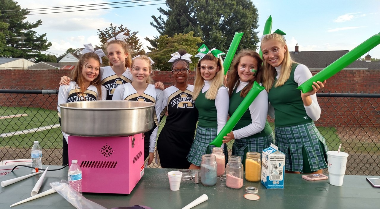 CCHS and STA cheerleaders serving younger students