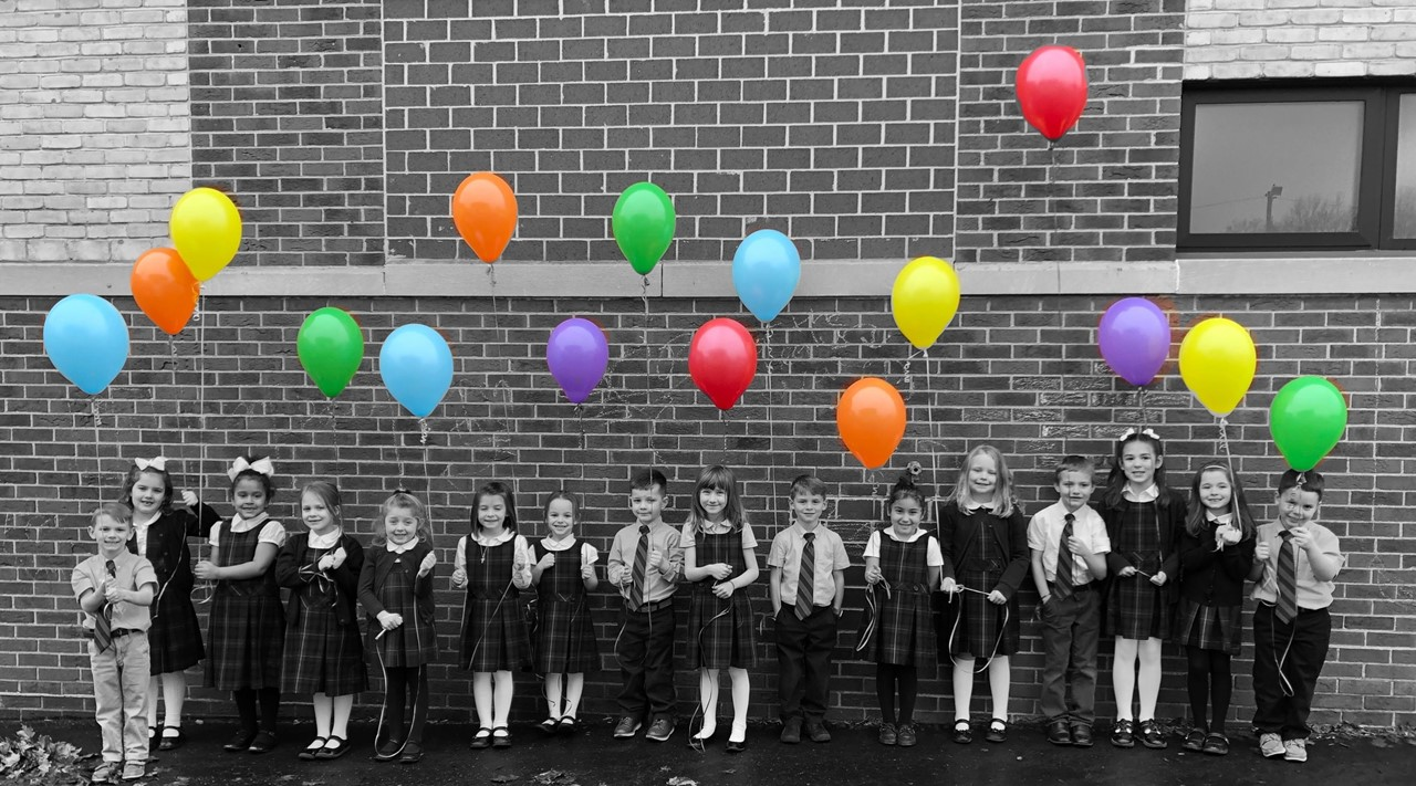 Students with balloons